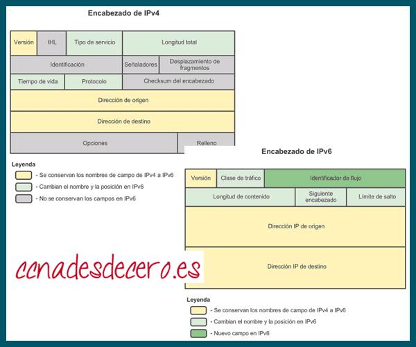 Encabezado paquetes IPv4 e IPv6