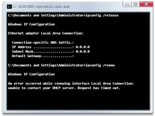 PC1 sin dirección IPv4