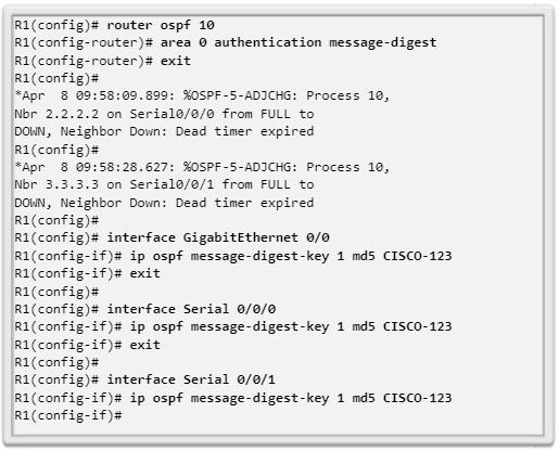 Ejemplo de autenticación MD5 de OSPF