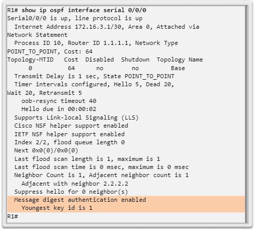 Verificación de autenticación MD5 de OSPF
