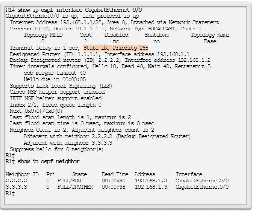 Verificación de la función y las adyacencias del R1