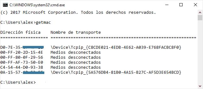 Ver la dirección MAC en Windows