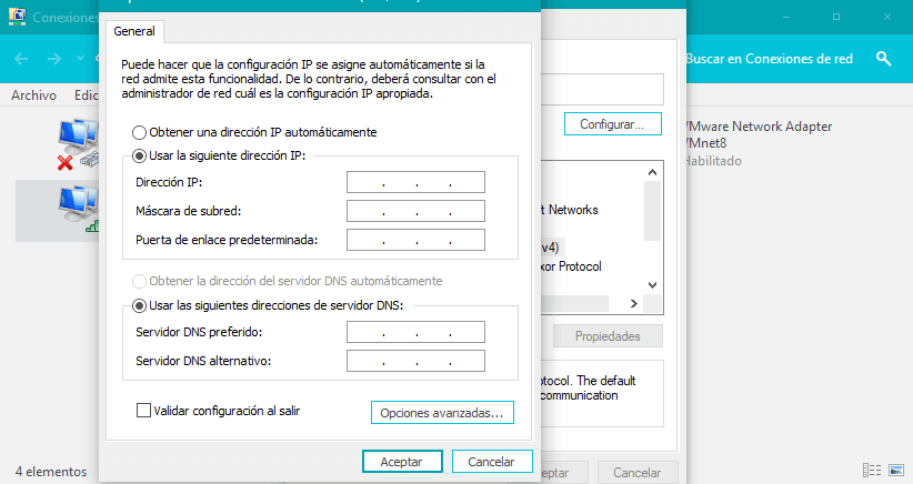 Usar la siguiente dirección IP
