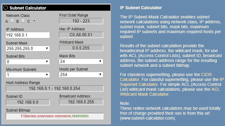 Online IP Subnet Calculator para subneteo
