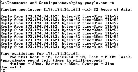 ping IP o Nombre