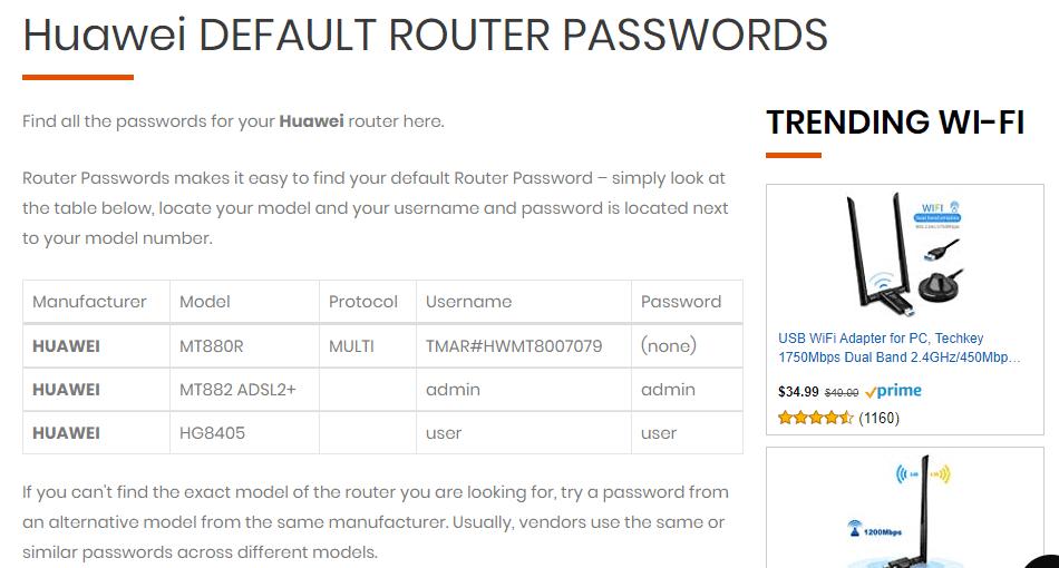 User y password de router