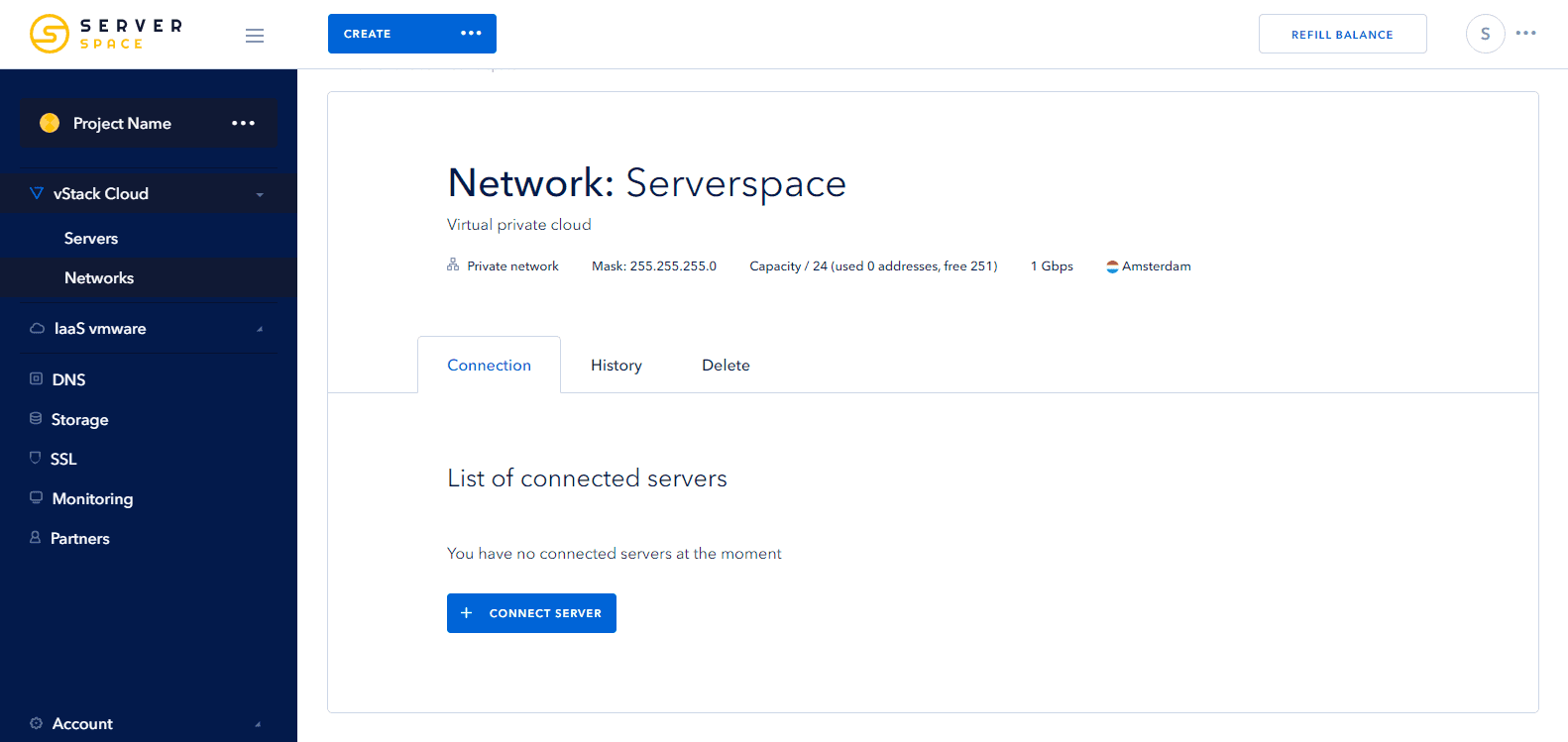 Connect Network Serverspace
